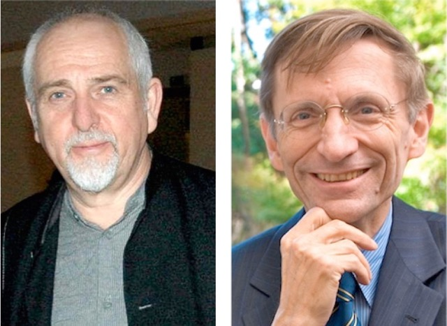 Peter Gabriel, left, and Bill Drayton, right.