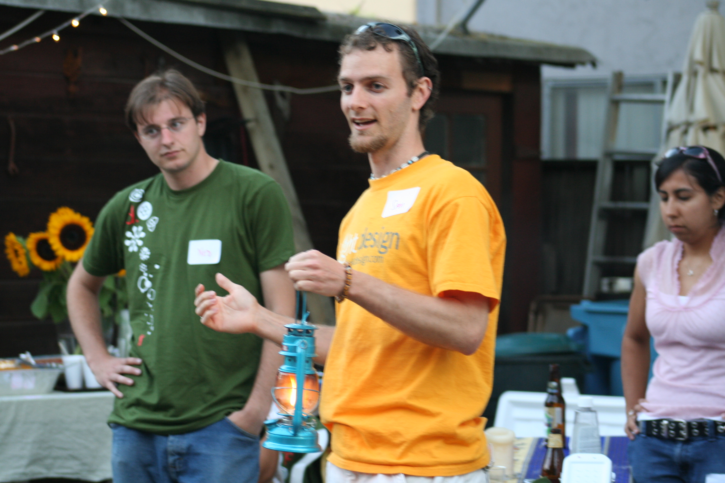 Sam and Ned presenting their prototype through story in the early days. Photo courtesy of Ned Tozun.