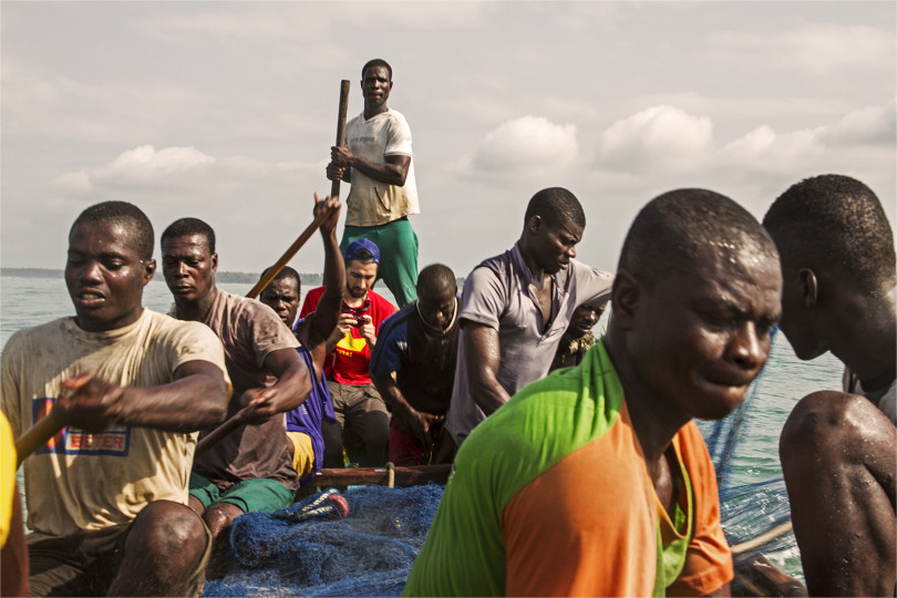 Protei ended up heading into the ocean with a group of fisherman from the village they visited.