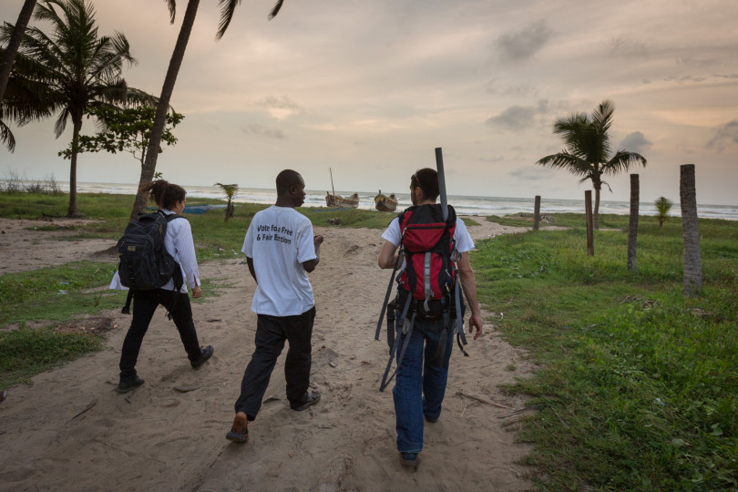Gabie Levine and Cesar Harada of Protei ventured into rurual Ghana to test coastal waters for pollution from the recent boom in the oil industry.
