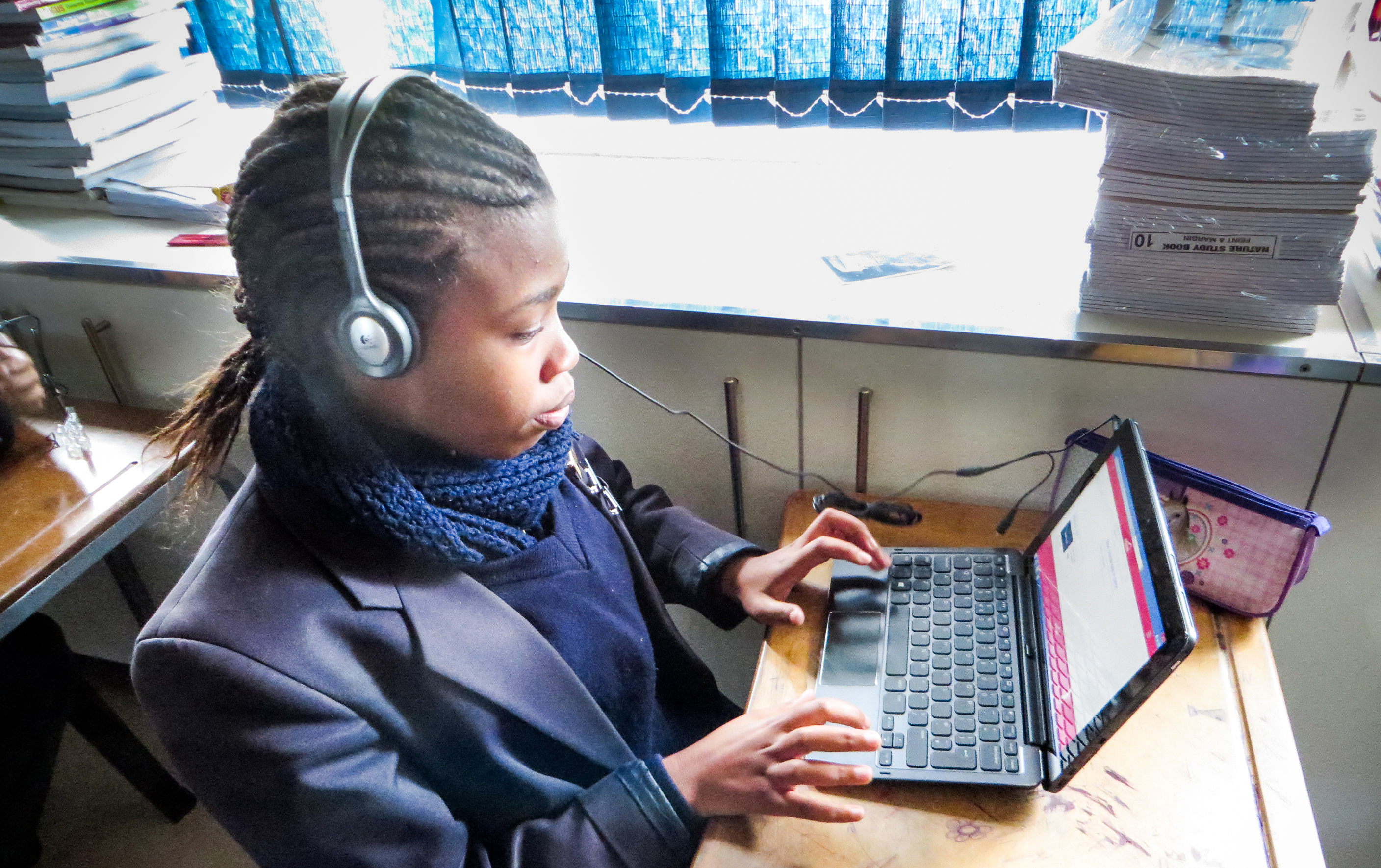 Eduze's CLOX being used by a student in a classroom in South Africa. // Photo from Eduze