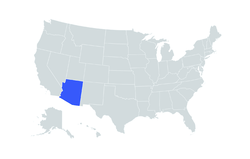blue map of Arizona