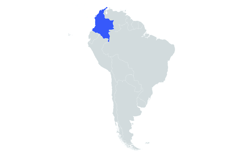 blue map of Colombia