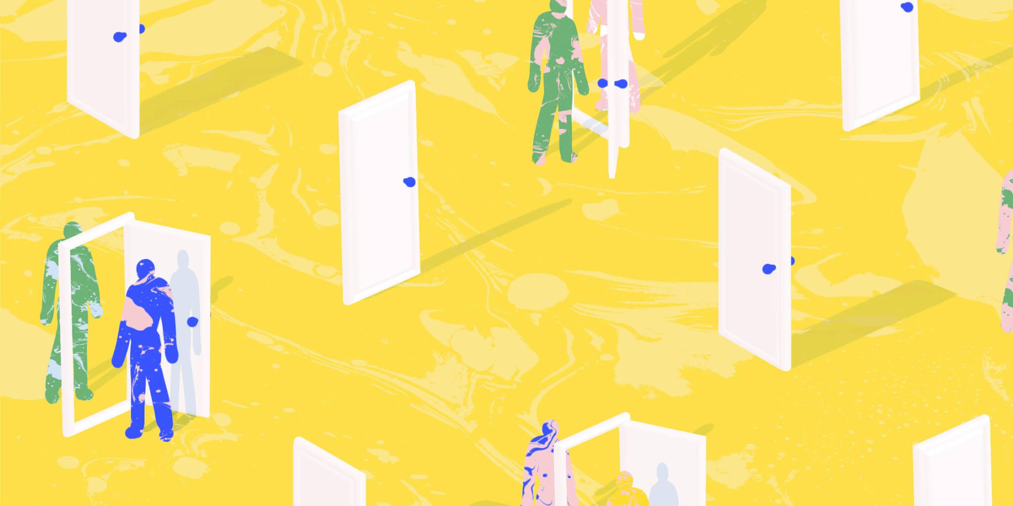 Illustration with yellow background and figures walking through doorways