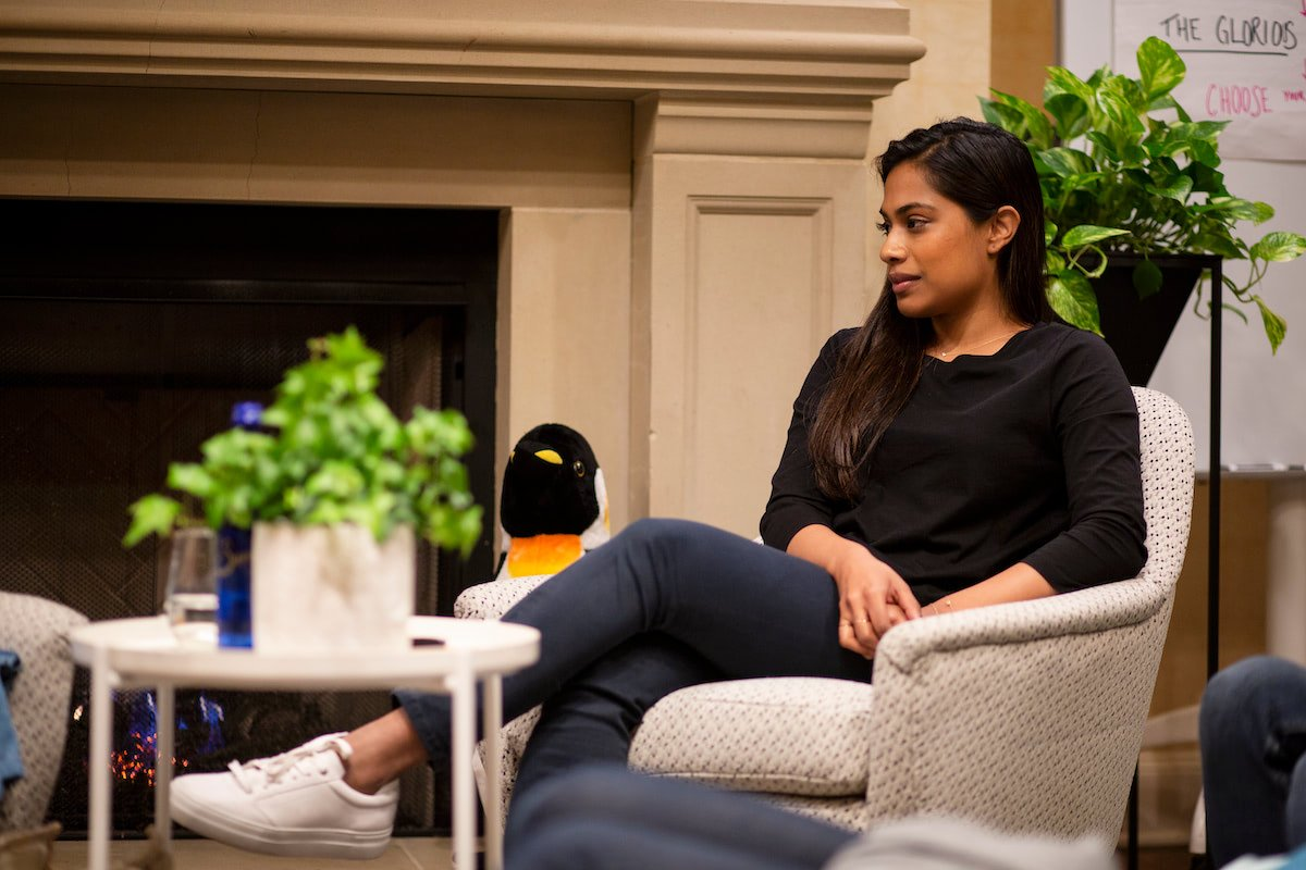 Shankari sitting with friend
