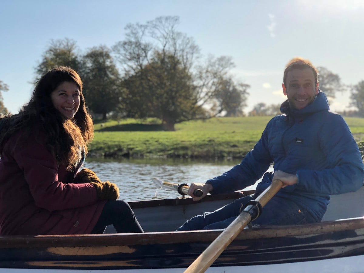 Ross & Sophie in a boat